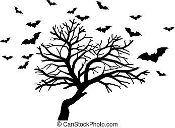 Spooky tree flock of bats vector icon