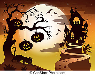 Spooky tree topic image 3 - eps10 vector illustration.