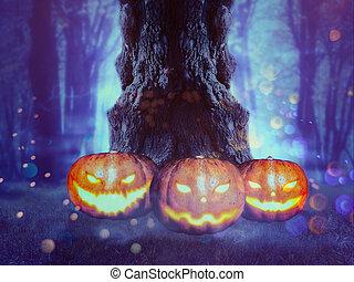Spooky Tree with Pumpkins