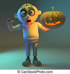 Spooky undead zombie monster holding a scarey pumpkin, 3d illustration render