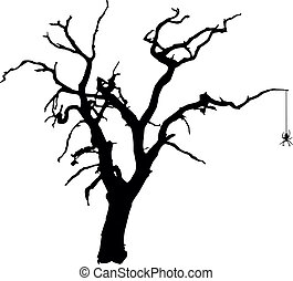 Vector silhouette of a spooky, bare tree with a hanging spider.