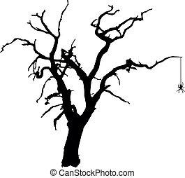 spooky, vetorial, árvore, aranha
