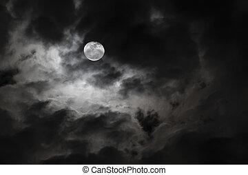 spooky, volle maan, en, griezelig, wite wolken