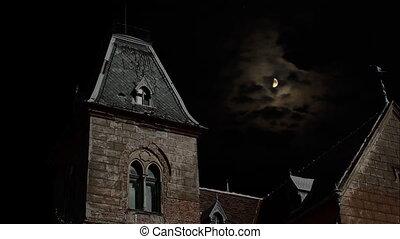 spooky, woning, op, night.