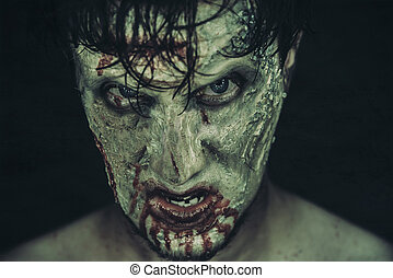 Spooky zombie man - Dark portrait of spooky zombie man in...