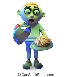 Spooky zombie monster serves brains for dinner, 3d illustration render