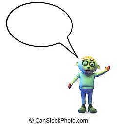 Spooky zombie monster with blank speech bubble, 3d illustration render