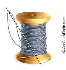 spool, i, tråd, vektor