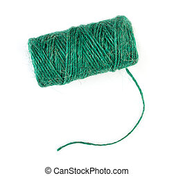 Spool of natural green linen twine, isolated on white background, top view.