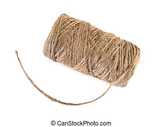 Spool of natural linen twine, isolated on white background, top view.