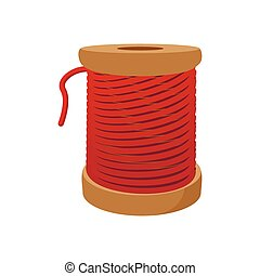 Spool of red thread for sewing cartoon icon