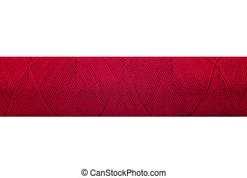 Spool of red thread isolated on white background