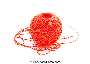 spool of red thread on white