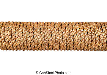 Spool of rope - A spool of three-strand hemp rope isolated...