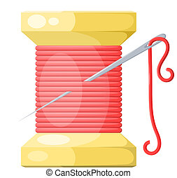 Spool of thread and needle red with highlights and shadows. Isolated on white background. Vector illustration.