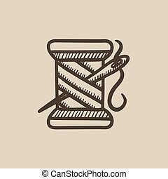 Spool of thread and needle sketch icon.