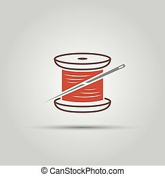 Spool of thread and needle vector colored symbol