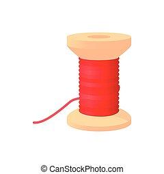 Spool of thread icon, cartoon style