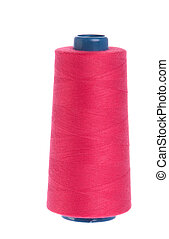 Spool of thread - red yarn spool of thread isolated on white...