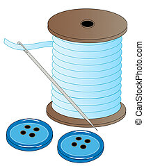 blue spool of thread with threaded needle and buttons