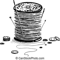 Spool of Thread with Needles and Buttons - Vintage reel of...