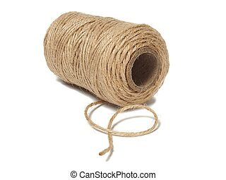 Spool with twine isolated on white background
