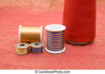 Spools composition on fabric