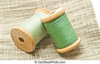 spools of green thread
