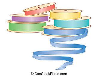 Spools of Pastel Ribbons