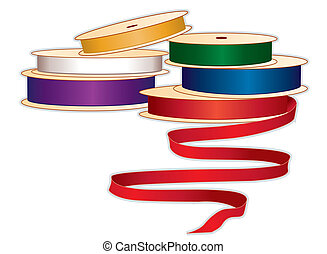 Spools of Ribbons, Jewel colors - Spools of satin ribbons in...