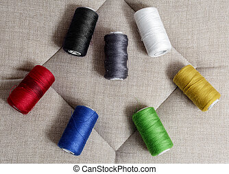 Spools of sewing thread