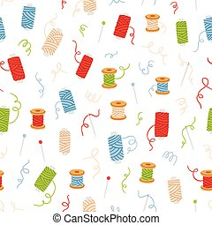 Spools of thread and sewing needles seamless pattern