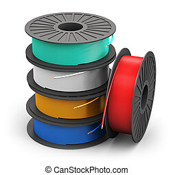 Spools woth color electric power cables - Creative abstract ...