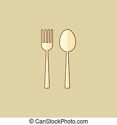Spoon and Fork. Food Flat Icon