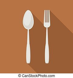 Spoon and fork icon, flat style