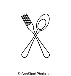 Spoon and fork icon, outline style