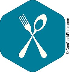 Spoon and fork icon, simple style