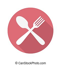 Spoon and Fork Icon With Long Shadow
