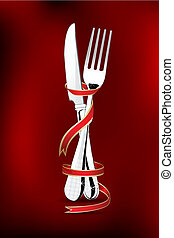 spoon and fork wrapped in ribbon