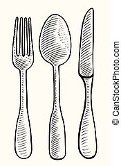 spoon and knife - Vector illustration gravure cutlery fork,...