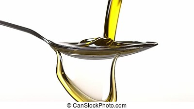 spoon and Olive Oil against White Background, Slow Motion