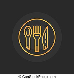 Spoon, fork and knife golden icon