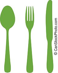 Spoon, fork and knife.