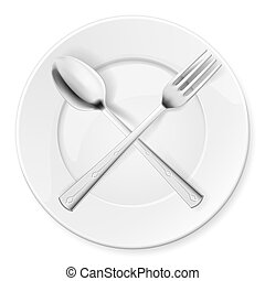 Spoon, fork and plate isolated on white background