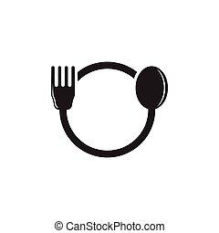 spoon fork circle geometric logo vector