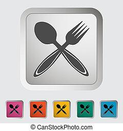Spoon, fork. Single icon. Vector illustration.