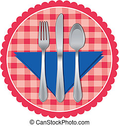 Spoon, fork & knife on table cloth - Vector illustration of...