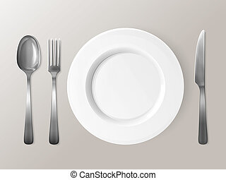 Spoon, fork or knife and plate tableware 3D illustration -...