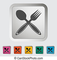 Spoon, fork. Single icon. Vector illustration.