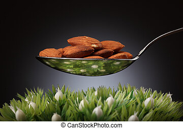 Spoon full of almonds